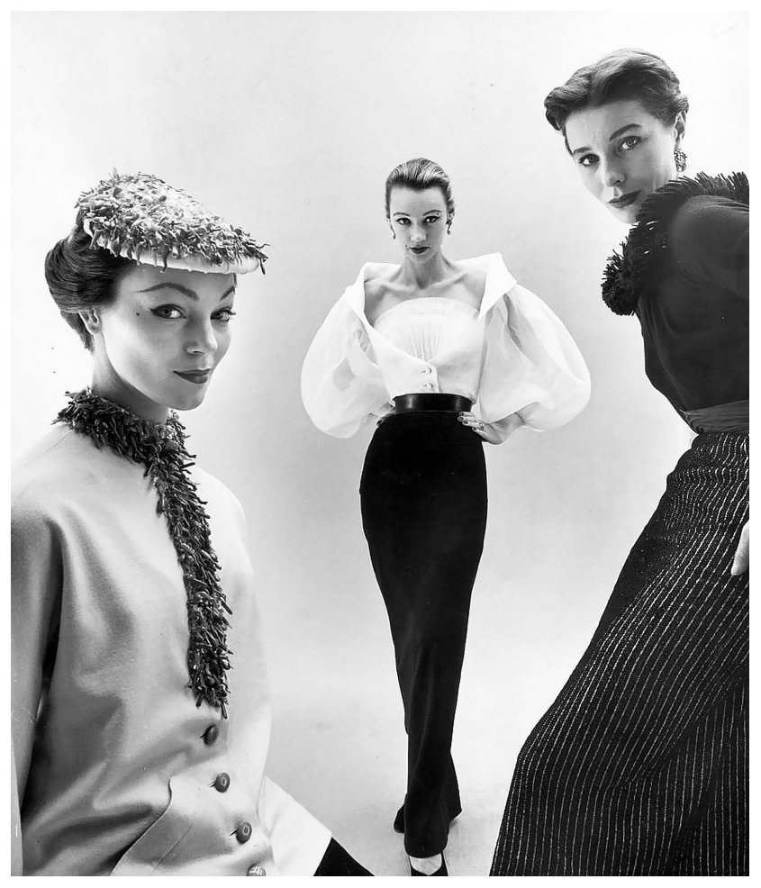 Ivy Nicholson, Sophie Malgat and Bettina Graziani in Hubert de Givenchy Tops en Skirts, photographed by Nat Farbman, 1952.jpg