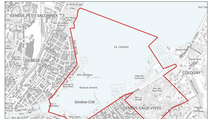 La zona di sicurezza nella mappa pubblicata dalle autorità ginevrine.jpg